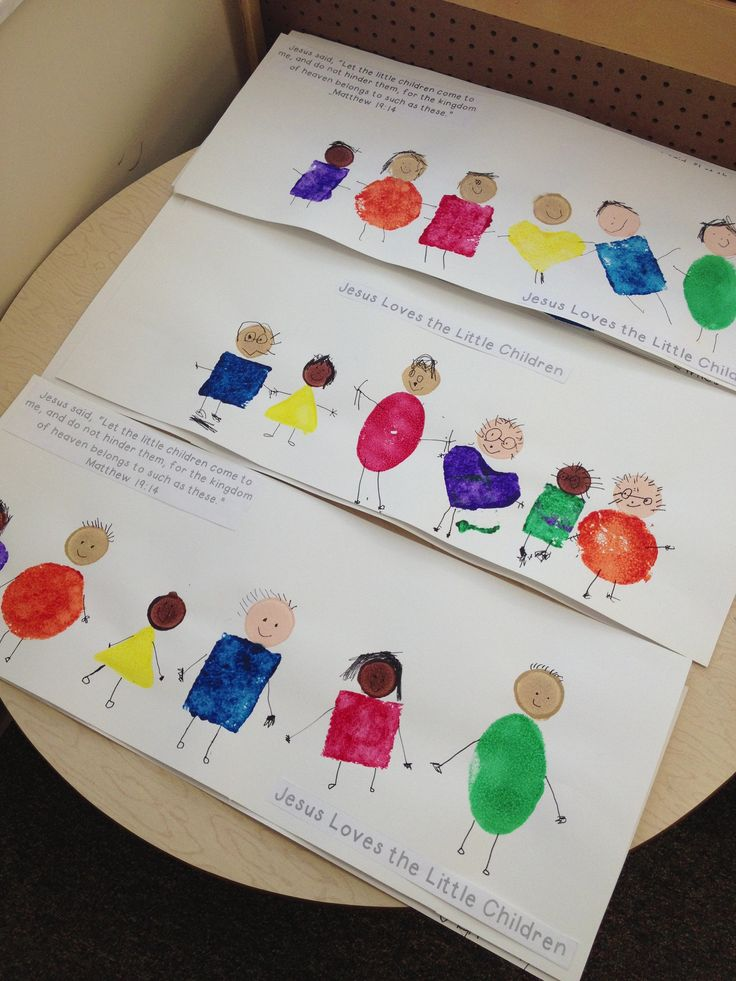 "preschool Bible art Modified pinterest idea ""Jesus Loves the Little Children"" Matthew 19:14  one of our fine arts project (sponge shapes for the bodies, Martha Stewart dot sponges  for heads & felt tip markers for details)"
