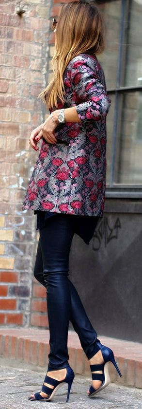 Floral blazer +  leather legging.