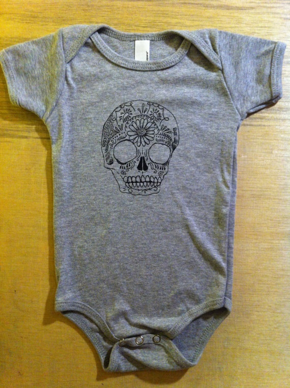 Childrens Clothing  Baby SUGAR SKULL  Baby Onesie by ArepaArts, $15.00