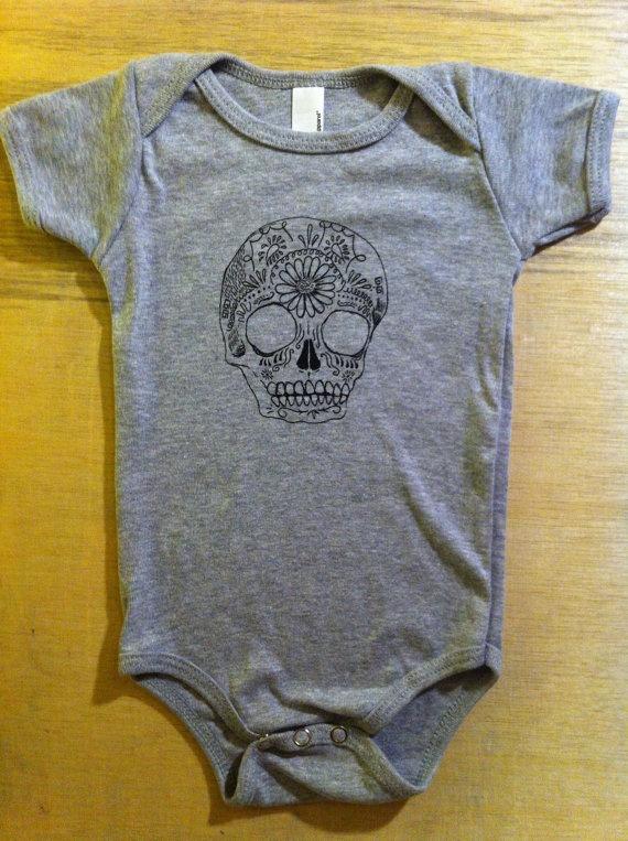 Childrens Clothing  Baby SUGAR SKULL  Baby Onesie by ArepaArts, $15.00