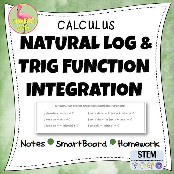 Students will use The Log Rule to integrate rational functions. Examples include change of variables and dividing before integrating. There are trigonometric functions in this lesson. The lesson includes:    ♦ Guided Notes handout    ♦ Fully-editable SmartBoard presentation    ♦ Homework assignment    ♦ Completed set of notes    ♦ Full solutions