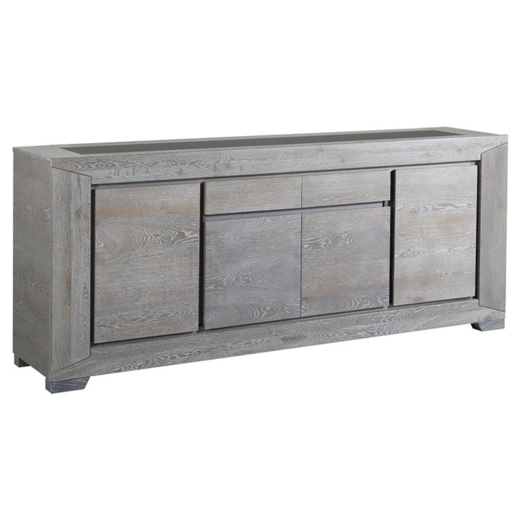 Parisot Titan Gray Solid Oak Sideboard with 4 Doors - 0607EN4P