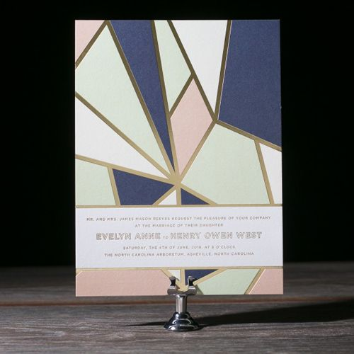 modern geometric wedding invitation by hello tenfold for bella figura