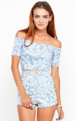 pale blue croptop and shorts