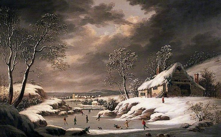 Winter Scene (Landscape with a Village and Figures Skating) by Joseph Francis Gilbert, 1834 (c) Chichester City Council; Supplied by The Public Catalogue Foundation