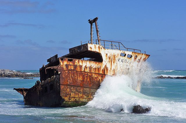 Meisho Maru shipwreck, Cape Agulhas, South Africa  Located on the southernmost tip of Africa, Cape Agulhas has always possessed some sort of mystical charm. Named the Cape of Needles (it's the place where the Indian and Atantic Oceans meet) the coast has lured many people, including Khoi fishermen and later marine explorers. Unfortunately, it is also located in the Cape of Storms, T
