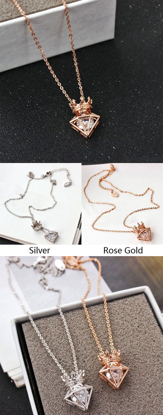 New Rose Gold Short Chain Zircon Crown Diamond Pendant Necklace is so cute ! #crown #pendant #necklace #rose #chain #ziron #cute