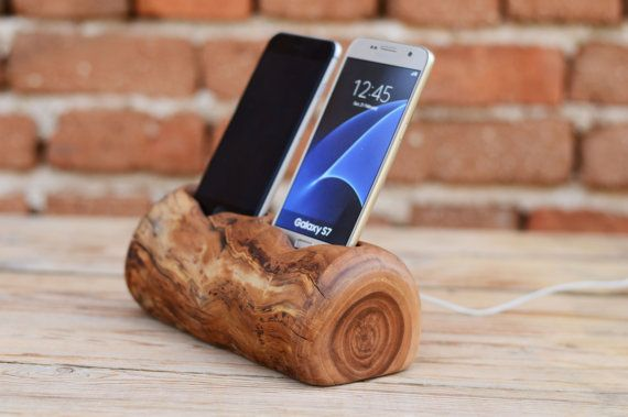 Wooden Double Charging Station Wooden iPhone Dock by WoodRestart