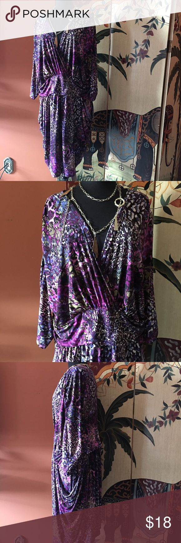 Passion for Purple Plus Size Dress Size 3X (22W-24W), Ms Tina by Tina Knowles, in good condition, Faux Wrap style Miss Tina Dresses