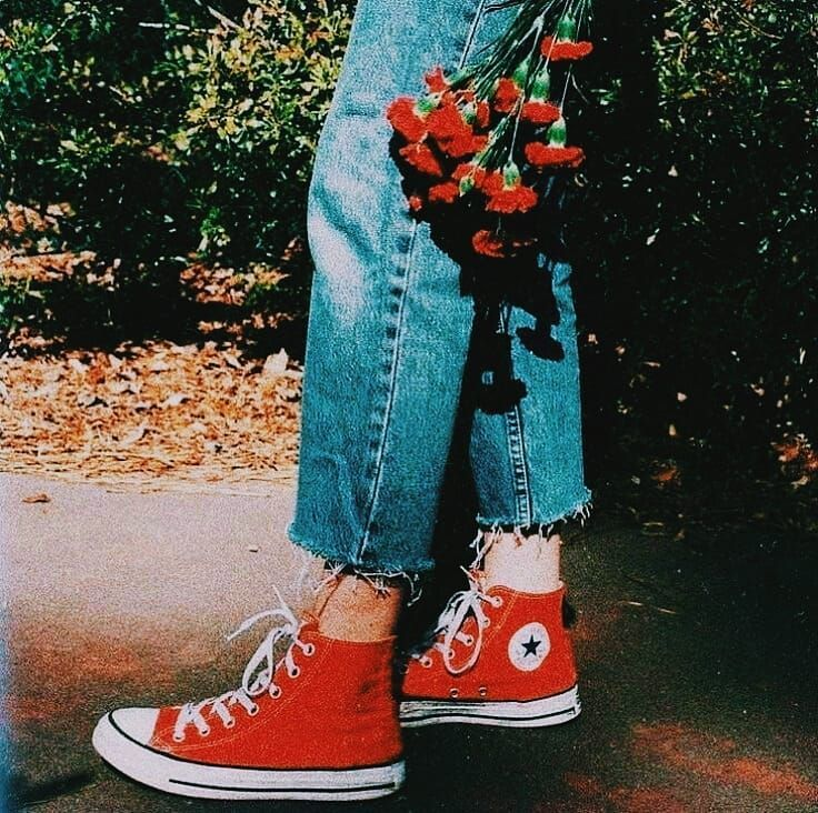 95608f1d51f  photo  vintage  tumblr  tumblraesthetic  aesthetic  aestheticvintage   flowers  red  converse  redconverse