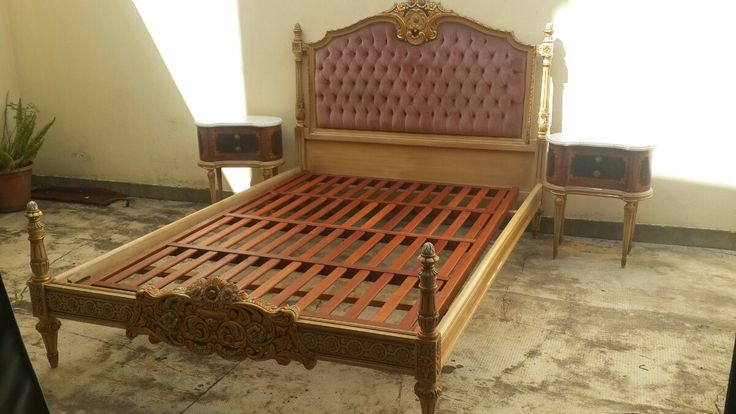 cama luis xvi capitone 2 plazas impecable