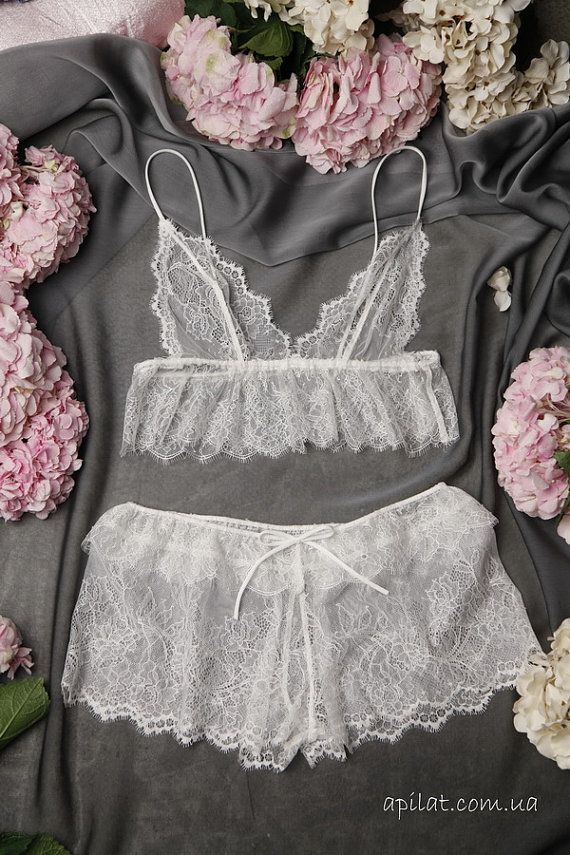 Lace Camisole with Lace Brief Lace Shorts Lingerie by Alingerie