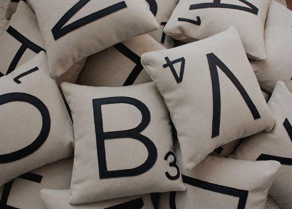 Scrabble pillowsPillows Fight, Letters Pillows, Games Room, Scrabble Pillows, Friday Fun, Scrabble Tile, Throw Pillows, Rings Pillows, Scrabble Letters