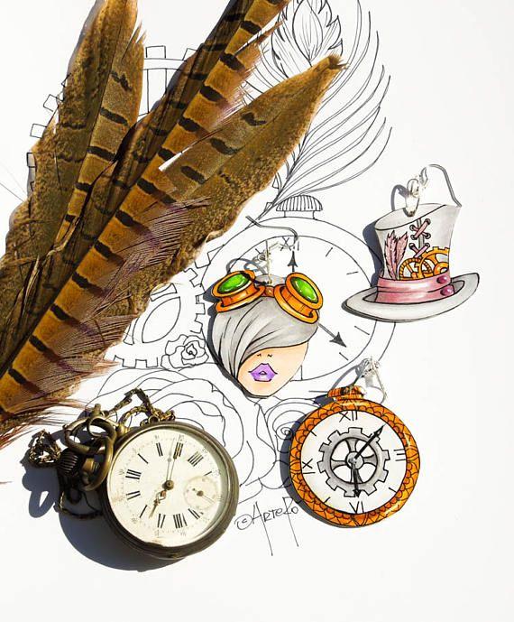 Steampunk Unique Jewelry Eccentric Gift Idea for women #steampunk #uniquejewelry #gothic #paperart