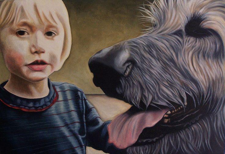 "Painting: ""Dog – Man's Best Friend"" – 2014, by South African artist, Anina Deetlefs"