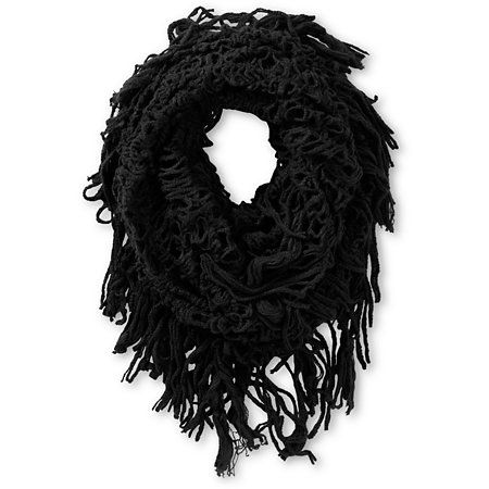Add some high fashion to your look with the D&Y Black Fringe Knit infinity scarf for girls.