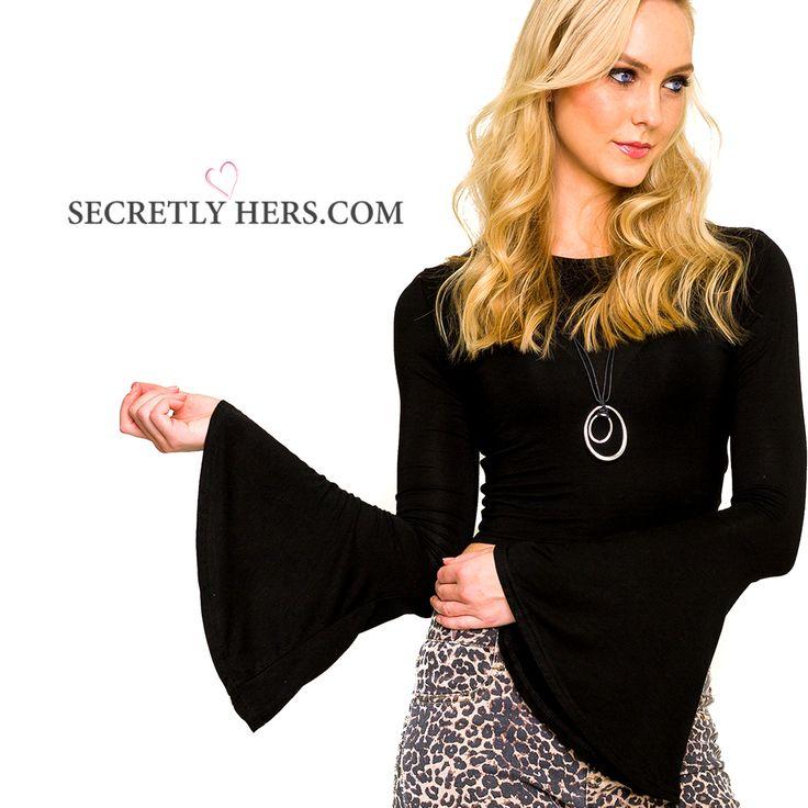 LABEL OF LOVE Flare Sleeve Crop Top in Black  #fashion #style  https://www.secretlyhers.com/tops/flare-sleeve-top-in-black