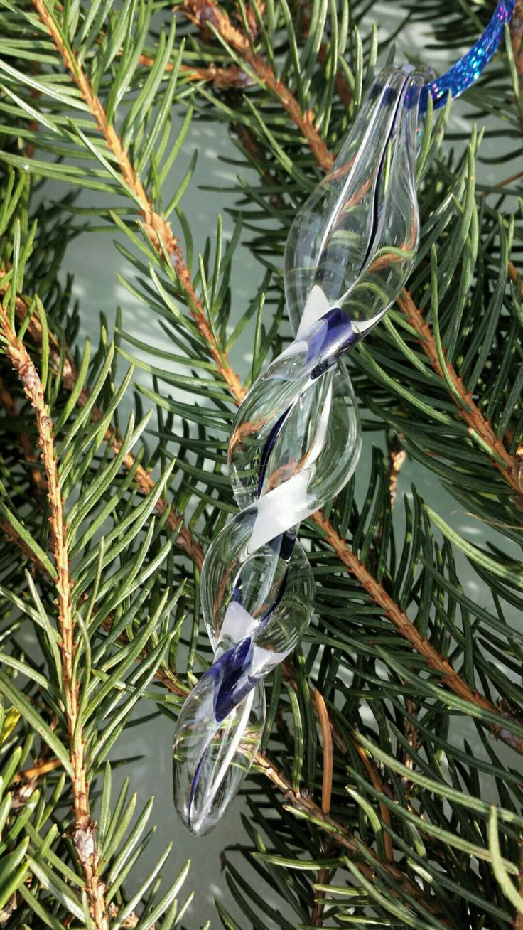 Glass blown icicles, white and blue, hand made from borosilicate glass. In a gift box and ready to ship. by DragonFireGlass on Etsy