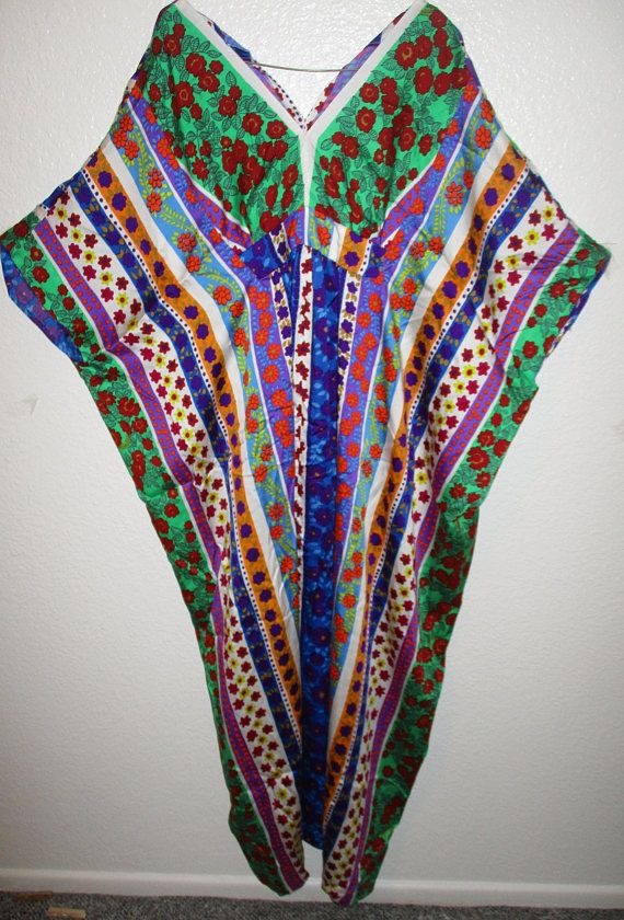 Vintage Muumuu Dress Floral Colorful Kaftan Caftan Dress