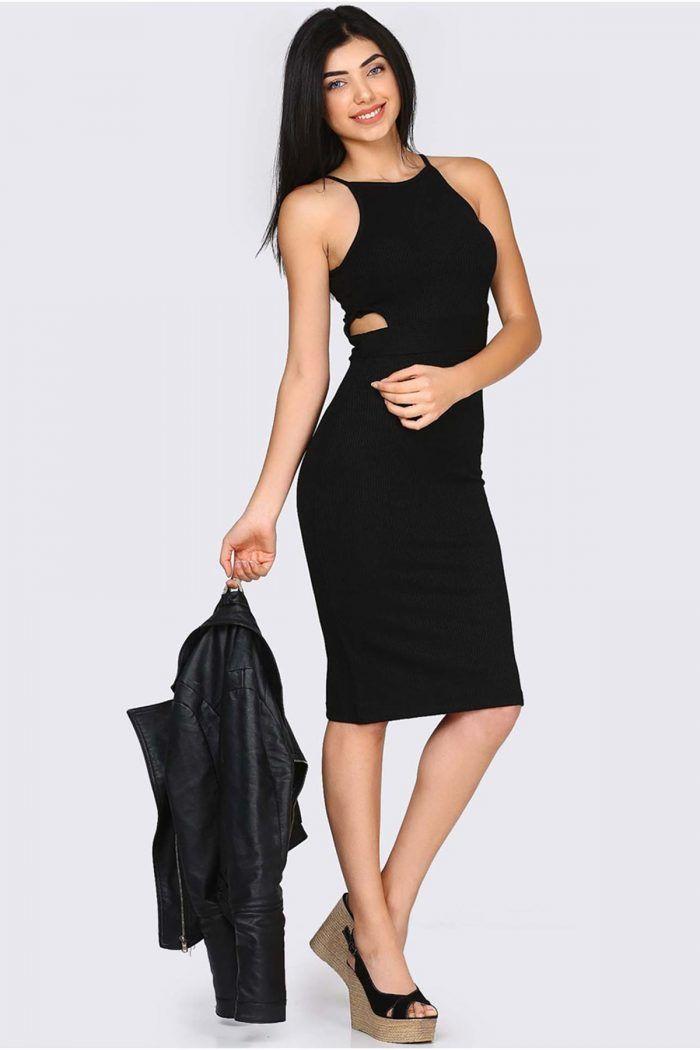 SON 38 ve 40 BEDENLER ::: İp Askılı Pencere Detay Siyah Elbise