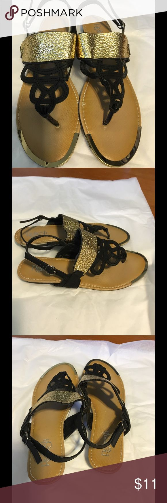 """🎀🍒💕Women's Sandals🎀🍒💕 🎀🍒💕REFRESH brand black/gold sandals. 🍒Style """"Jetta – 02"""". Size 9. 💕Used only once. 🌸In good preowned condition. 💐Adjustable heel strap.🎀🍒💕 Refresh Shoes Sandals"""
