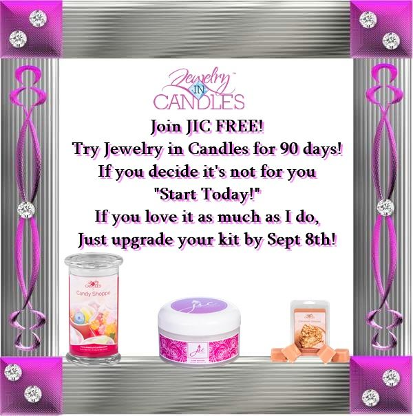 This is the last weekend you can join Free! Free Trial sign up! Totally free to join my Jewelry in Candles team! It's a 3 month trial to see if this is a right fit for you. Try it FREE for 90 days and still make 20% and get a 20% discount! If JIC is for you just upgrade your kit by Sept 8th! And start earning 30% and get a 30% Discount! What other company gives you a FREE trial?