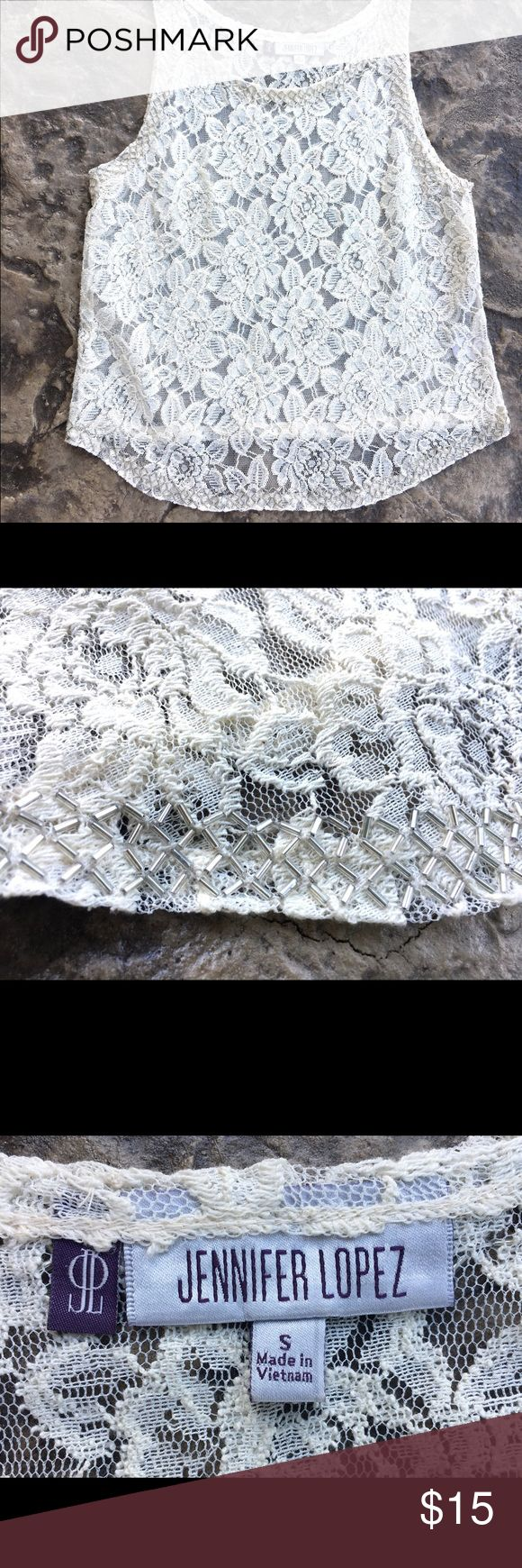 Jennifer Lopez cream lace top with beading So pretty! Lace top with bead detailing. Jennifer Lopez Tops Tank Tops