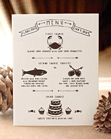 Hand-Illustrated Menus - Stationery by Christine Schmidt of Yellow Owl Workshop and photo by Aaron Delesie, via MS Weddings