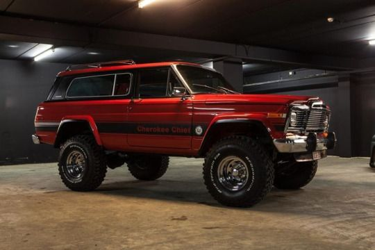 Jeep Cherokee Chief. Wagoneers have four doors and fake wood grain, Cherokees have two doors and no wood grain.