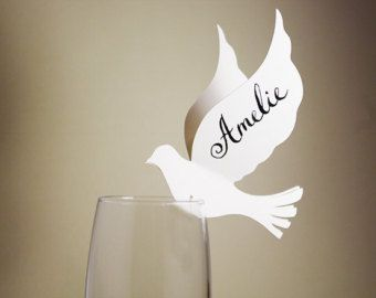 50 Place Cards, Doves, Decor for Wine Glass, Original calligraphy, Cutout, Scrapbook, Papercut by Mama Tita