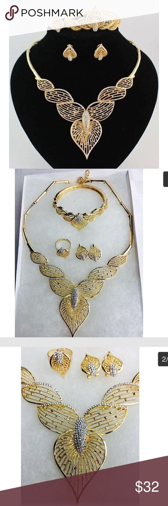 Leaf Design Gold Plated Rhinestone Jewelry Set Jewelry Sets- Include Necklace, Earings, Bangle and Adjustable Ring.  Main stone: Crystal, Rhinestone.  Style: Dubai African gold jewelry set  Main Material: Alloy  Gold plating color: 18K Gold Plated.   Its hypoallergenic and never fade. Ideal for gifts, wedding, birthday's and other parties. 2016 Trend! Ship with box. Jewelry Necklaces
