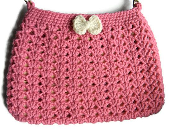 Crochet Pink and Cream Hobo Bag Fabric Lined Purse by jwhizcrochet