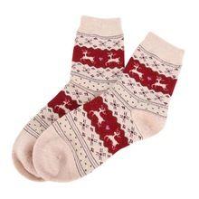 2017 Nieuwe Kerstcadeau Sneeuwvlok Herten Vrouwen Wollen Sokken Warme Winter Sok Filler Gift(China)