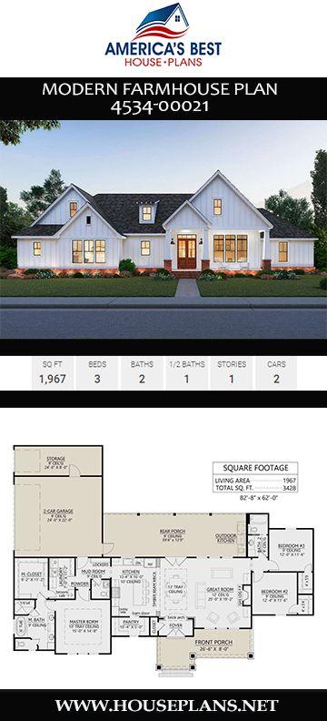 Modern Farmhouse Plan 4534-00021