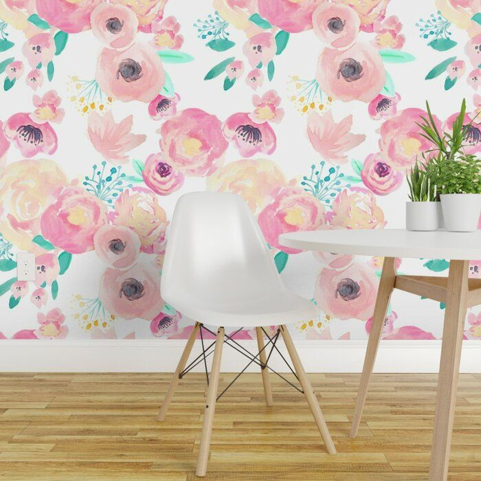 Bungalow Rose Zendejas Floral Removable Wallpaper Panel Wayfair Girls Room Wallpaper Wallpaper Panels Removable Wallpaper