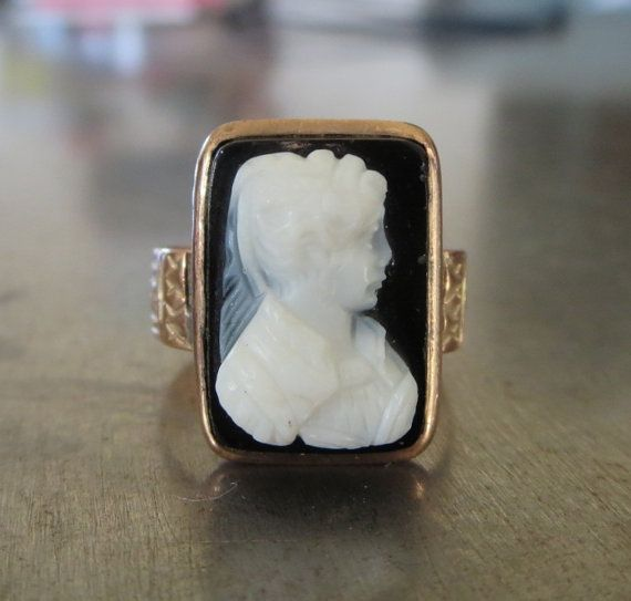 Victorian Ring Antique Cameo Ring Vintage Black Cameo Ring