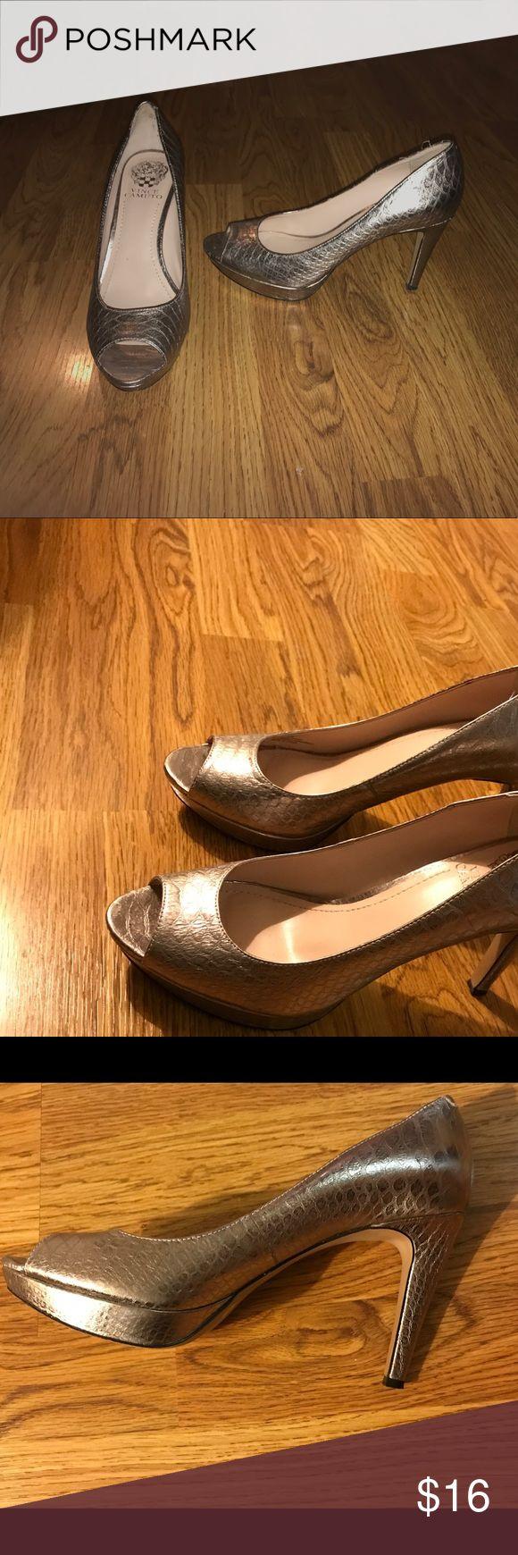 Vince Canute silver peep toe heels Vince Canute silver peep toe heels, size 8 Vince Camuto Shoes Heels