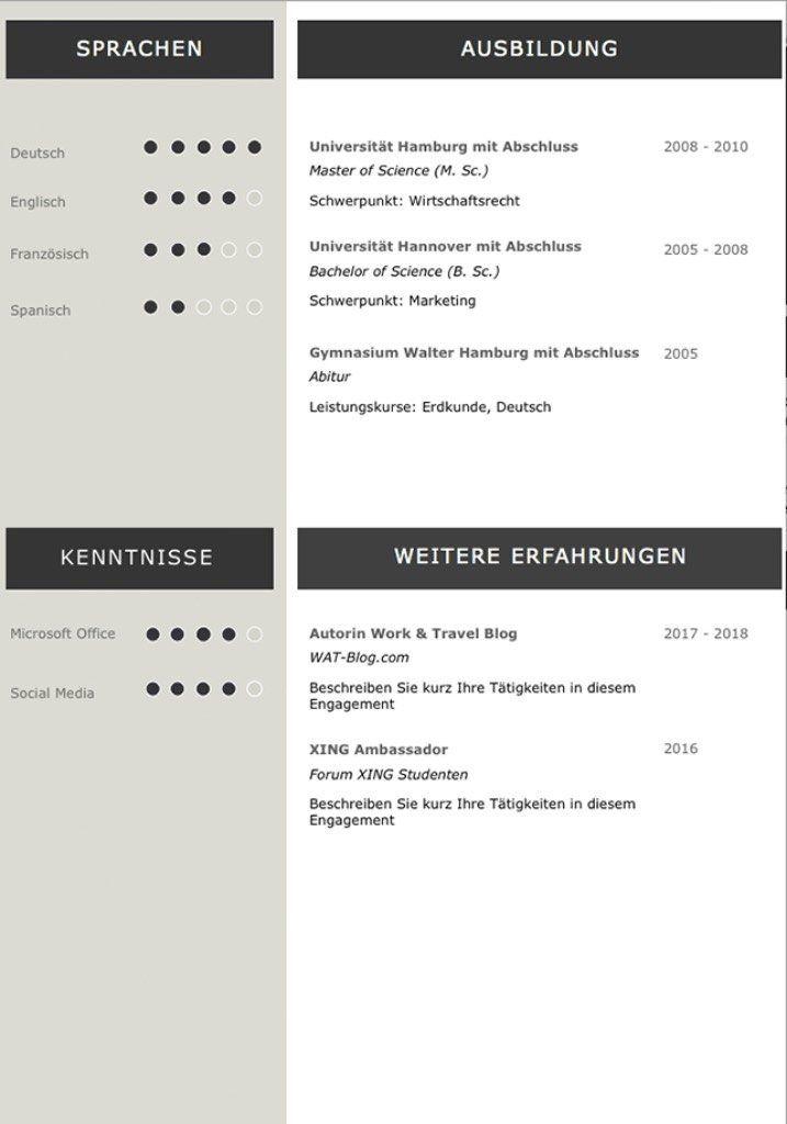 Lebenslaufvorlage Cv Platinum Candidate In Deutsch Download Best
