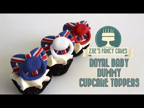 Royal baby dummy cake toppers pacifier cupcake toppers fondant baby dummies - YouTube