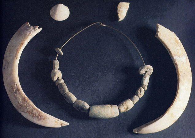 Un collar y dos colmillos de jabalí procedentes de un ajuar funerario