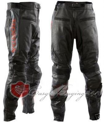 Black Honda Racing Biker Genuine Leather Trouser with Safety Pads for Men's