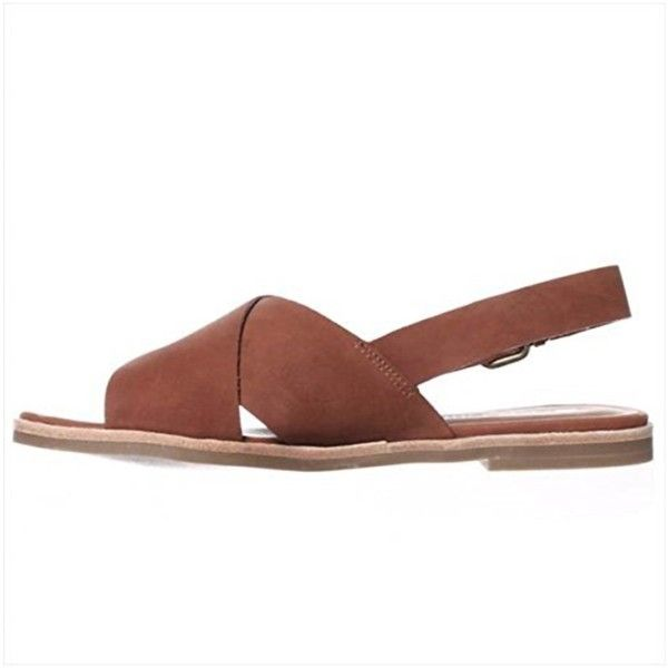 Dolcetta By Dolce Vita Noelle Slingback Sandals - Brown ($50) ❤ liked on Polyvore featuring shoes, sandals, brown, low heel sandals, platform sandals, lace up wedge sandals, low wedge sandals and laced up flat sandals