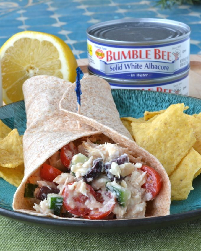 Greek Tuna Salad Wraps - Delicious and healthy tuna salad with lots of Greek flavors-- olives, feta, cucumber! And NO MAYO! #BeeHealthy #CG