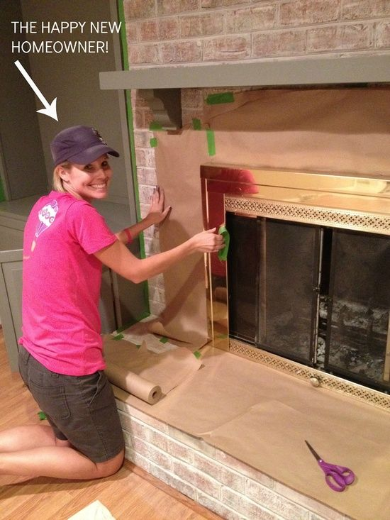 diy on how to white wash your brick hearth and paint the ugly brass fireplace!.