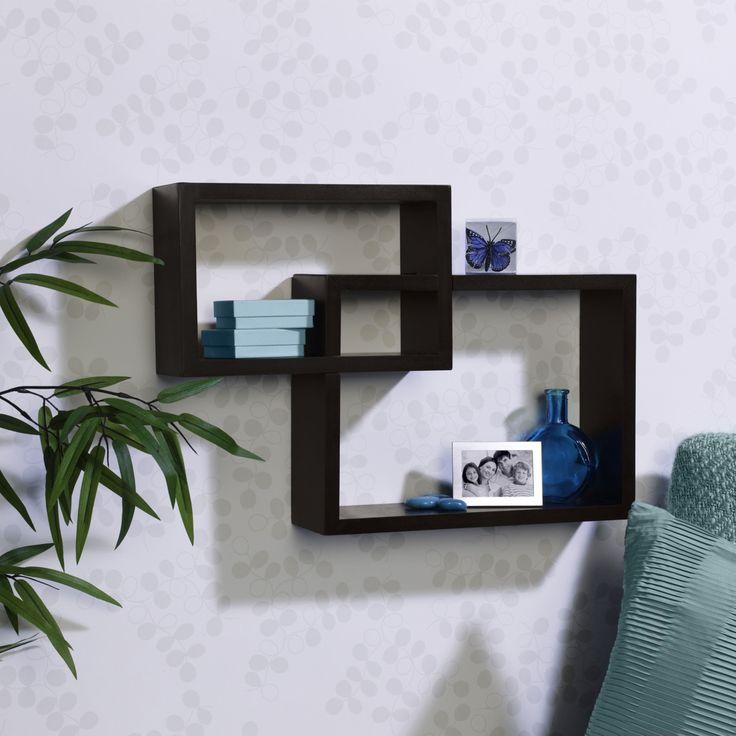 Melannco Espresso Overlapping Cube Wall Shelf