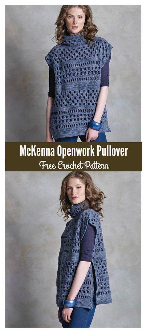 McKenna Openwork Pullover Free Crochet Pattern #freecrochetpatterns #sweater