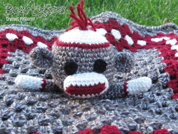 Sock Monkey Lovey  CROCHET PATTERN instant download   door Bowtykes