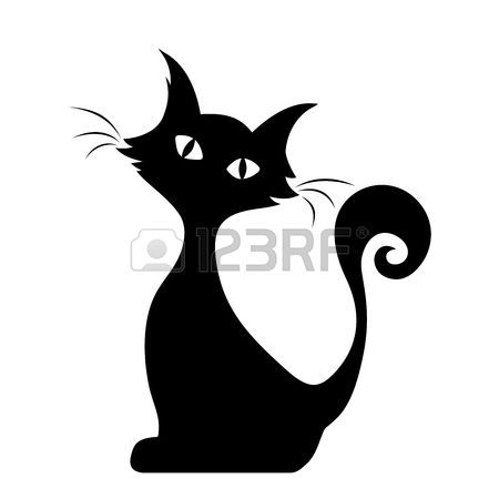 Vector black silhouette of a sitting cat.