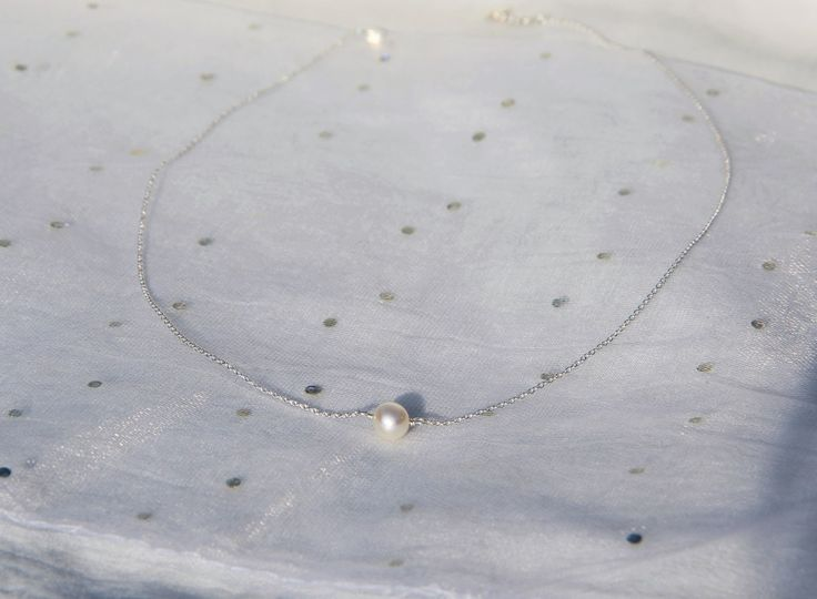 Collier perle de culture / nacre & argent massif 925, idée cadeau, bijou fin, délicat, minimaliste, myo jewel : Collier par myo-jewel