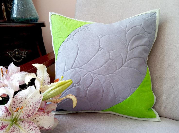elegant gray limette cushion cover with quilted floral design